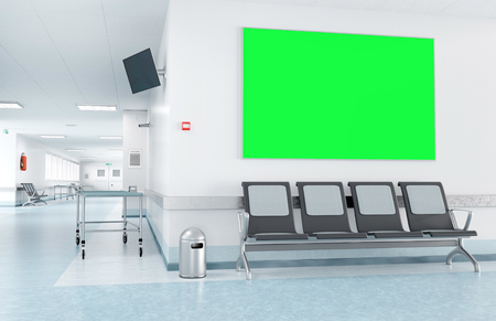 View of a Mock up of a frame in a waiting room of a hospital