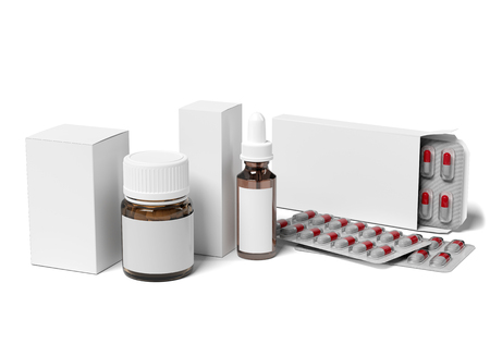 Pharmaceutical Packaging Mockup view - 3d rendering Фото со стока