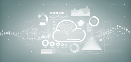 View of Cloud and wifi concept with icon, stats and data 3d rendering