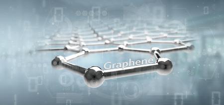 View of a Graphene structure - 3d rendering Banco de Imagens