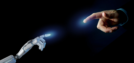 View of a Cyborg robot hand on an uniform  background 3d rendering