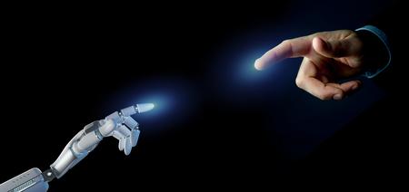 Vista di una mano di robot Cyborg su un rendering 3d di sfondo uniforme Archivio Fotografico