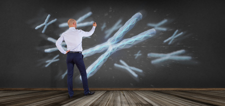 View of a Businessman in front of a Group of chromosome with DNA inside isolated on a background 3d rendering