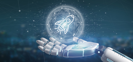 View of a Cyborg hand holding a  start up rocket on a sphere 3d rendering