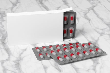 Pharmaceutical Packaging Mockup view - 3d rendering Stock Photo