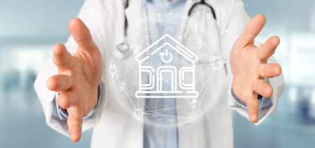 View of Doctor holding Smart home interface with icon, stats and data 3d rendering