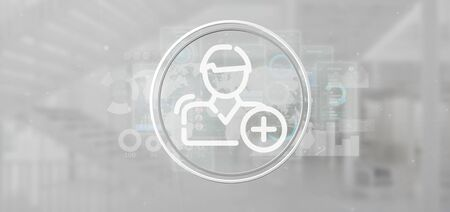 View of a Businessman holding new contact icon