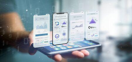 Vista de la interfaz de usuario de una aplicación en un teléfono inteligente - Representación 3d