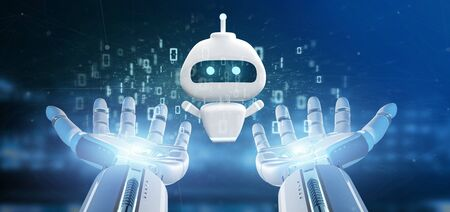 View of Cyborg hand holding Chatbot with binary code 3d rendering Stock Photo