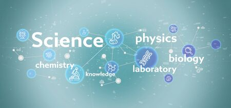 View of a Science icons and title on a color background Stok Fotoğraf