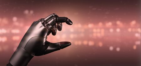 View of a Red virus cyborg robot hand - 3d rendering Archivio Fotografico - 129466819