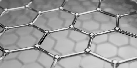 View of a graphene molecular nano technology structure on a background - 3d rendering Stock Photo