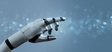 View of a Cyborg robot hand - 3d rendering Banco de Imagens - 129468722