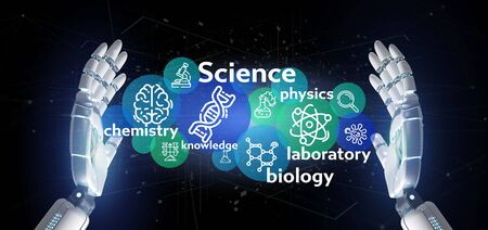 View of Cyborg hand holding Science icons and title