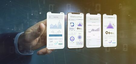 View of an Application interface UI on a smartphone - 3d rendering Banco de Imagens - 129468754