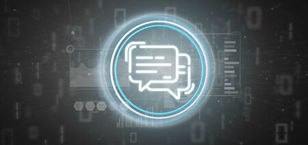 View of a Message icon with data all around