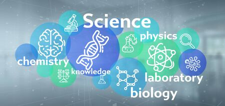 View of a Science icons and title on a color background Banco de Imagens