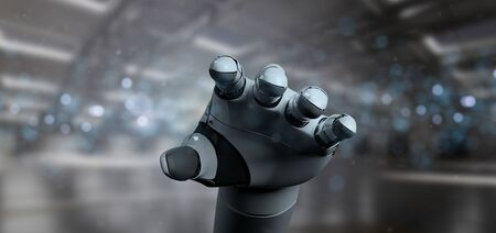 View of a Robot Hand Cyborg - 3d rendering Banco de Imagens