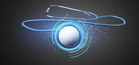 View of a 3d rendering medical stethoscope isolated on a background