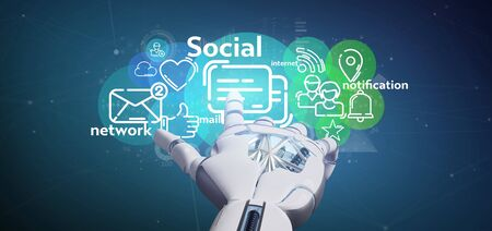 View of a Cyborg holding a cloud of social media network icon Banco de Imagens - 129468859