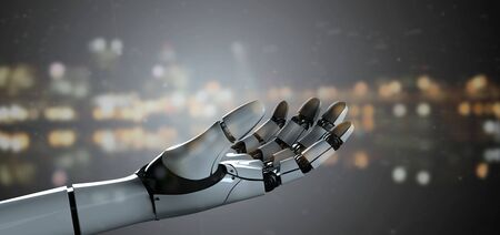 View of a Robot Hand Cyborg - 3d rendering Banco de Imagens - 129468856