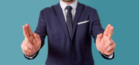 View of a Empty holding hands of a businessman at the office Banco de Imagens