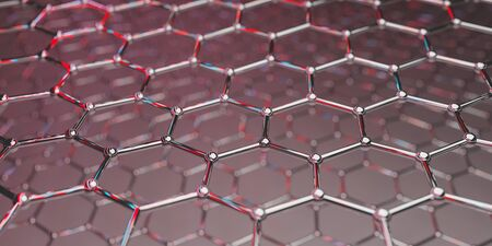 View of a graphene molecular nano technology structure on a red background - 3d rendering