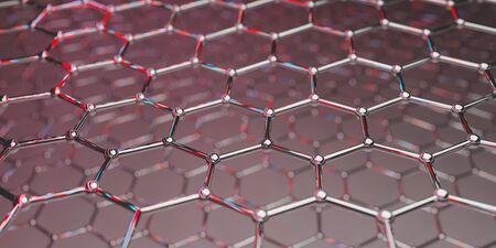 Vue d'une structure de nanotechnologie moléculaire de graphène sur fond rouge - rendu 3d Banque d'images