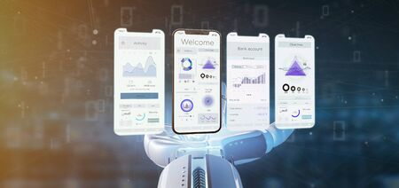 View of an Application interface UI on a smartphone - 3d rendering Banco de Imagens - 129469425