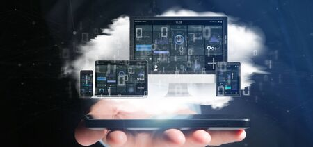 View of Businessman holding Devices connected to a cloud multimedia network 3d rendering