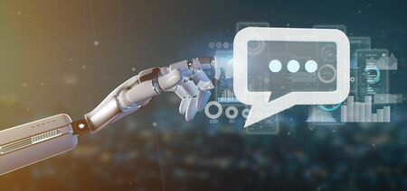 View of a Cyborg hand holding a message icon with data in background - 3d rendering Banco de Imagens - 129469439
