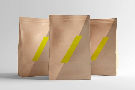 View of a Pouch Packaging Design Mockup Banco de Imagens - 129469516