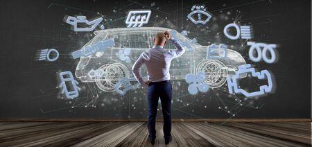View of a Man holding a smartcar concept 3d rendering Banco de Imagens