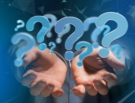 View of Blue question mark displayed on a futuristic interface - 3d rendering 写真素材