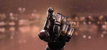 View of a Red virus cyborg robot hand - 3d rendering Banco de Imagens - 129469722