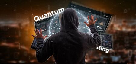 View of Hacker man holding Quantum computing concept with qubit and devices 3d rendering 写真素材