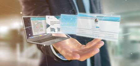 View of a Businessman holding a Website application going out a laptop screen 3d rendering