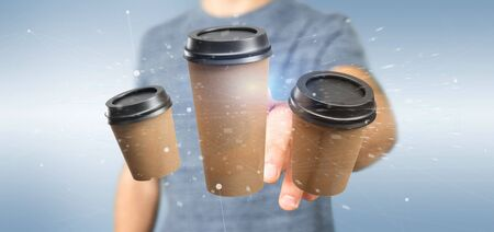 View of a Group of cardbox coffee cup with connection 3d rendering Banco de Imagens