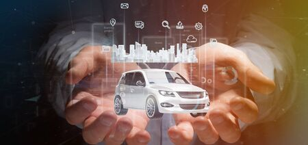 View of Businessman holding Dashboard smartcar interface with multimedia icon and city map on a background 3d rendering Archivio Fotografico - 131809642
