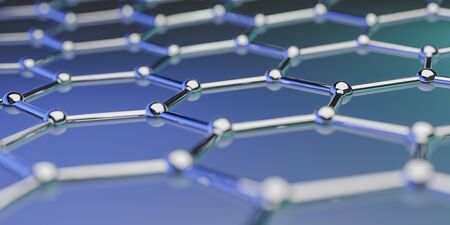 View of a Graphene molecular nano technology structure on a blue background - 3d rendering Stok Fotoğraf