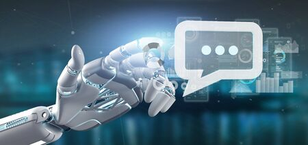 View of a Cyborg hand holding a message icon with data in background - 3d rendering 스톡 콘텐츠