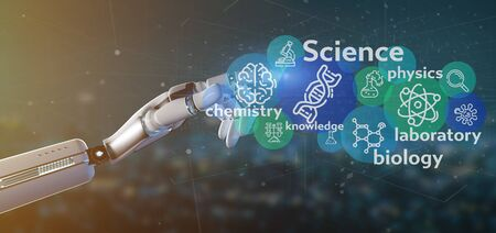 View of Cyborg hand holding Science icons and title  스톡 콘텐츠