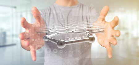 Vista de un empresario sosteniendo una estructura de grafeno - 3D rendering