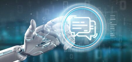 View of a Cyborg hand holding a message icon
