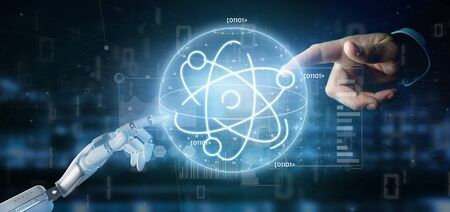 View of a Cyborg holding an atom icon surrounded by data