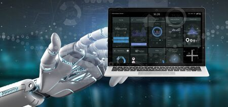 View of Cyborg hand holding Laptop with business user interface data on the screen isolated on a background 스톡 콘텐츠