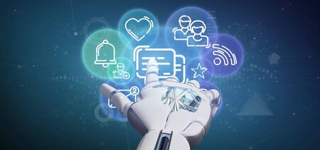View of a Cyborg holding a cloud of social media network icon 스톡 콘텐츠