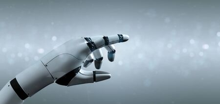View of a Cyborg robot hand - 3d rendering