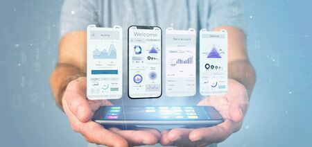 View of an Application interface UI on a smartphone - 3d rendering