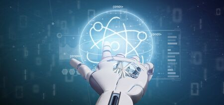 View of a Cyborg holding an atom icon surrounded by data Imagens